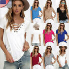 US HOT Women's Lace up V Neck Blouse Casual Short Sleeve Slim Tops T-Shirt Shirt