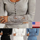 Womens Casual Long Sleeve Crew Neck T-Shirt Lace Floral Tops Blouse Plus Size