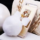 Apple iPhone 6/6s 7 Plus Cute Fur Ball Bowknot Metal Ring Mirror TPU Case Cover