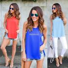 Women O-Neck Split Hem Casual Loose Summer Beach Tank Tops N98B