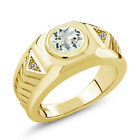 1.53 Ct Green Amethyst White Diamond 18K Yellow Gold Plated Silver Men&#039;s Ring <br/> 100% Satisfaction Guaranteed