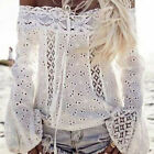 Fashion Summer Women Lace Off Shoulder Long Sleeve Casual T-Shirt Tops Blouse US