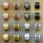 Zircon 3 Rows Gemstone Rondelle Spacer Connector Charm Beads 6x7mm Silver Gold