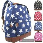 NEW LADIES CANVAS STAR PRINT FRONT POCKET COLLEGE HOLIDAY BACKPACK