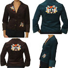 Doki-Geki Brown Blue Teal Corduroy Casual Embroidered Jacket Blazer Top M L NEW
