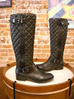 Vince Camuto Fredrica Black Quilted Leather Riding Boots NEW