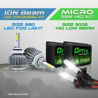 H4 55w HID Low Beam Headlight Xenon Conversion Kit + 880 6000K LED White Fog