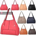 WOMENS NEW PANEL PU LEATHER SNAP CLOSED WINGS TOTE SHOULDER BAG
