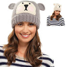 Ladies Animal Face Beanie Hat With Ears One Size - Available In Oatmeal And Grey