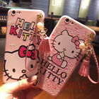 Hot Cute Hello Kitty Tassel Strap Pendant Soft Case Cover for iPhone 6/6S/7 Plus
