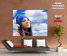 Smiling Girl Geadphones Sky Wall Print POSTER UK