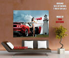 Red Sport Car Sexy girl Lingerie Lighthouse Wall Print POSTER US