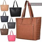 NEW WOMENS FAUX LEATHER HOLLOW OUT SIDES FRONT POCKET TOTE BAG HANDBAG