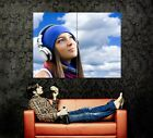 Smiling Girl Geadphones Sky Wall Print POSTER US