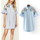 Womens Floral Embroidered Collared Button Down Swing Sleeve Loose Shirt Dress