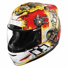 NEW ICON MONKEY BUSINESS RED MOTORCYCLE HELMET ALL SIZES ***SAME DAY SHIPPING***