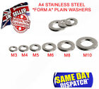 FORM A WASHERS A4 STAINLESS STEEL TO FIT BOLTS AND SCREWS M3 M4 M5 M6 M8 M10