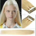 "20pcs #60 Blonde 16""-24"" PU Tape In remy Russians Straight Human Hair Extensions"