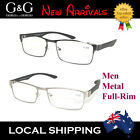 G&G Men Full Rim Mental Reading Glasses Spring Loaded Gun Silver Frame 1.0~3.5