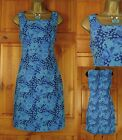 NEW EX PEPPERBERRY TURQUOISE BLUE FULLY LINED FLORAL SUMMER TEA DRESS UK 10 - 18