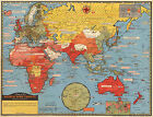 Historic Pictorial Map World War Fronts Dated Events WWII Military Wall Poster