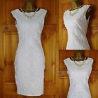 RRP £45 NEW JANE NORMAN WHITE STRETCHY TEXTURED SUMMER PARTY DRESS UK 12