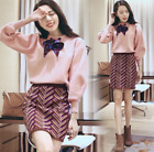 Womens Dress Sweater Knit Dress Long Sleeve Slim Fit Bow Mixed Color Spring Girl