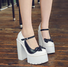 Fashion Womens Bow Chunky Punk Heels Platform Shoes Casual Pumps Mixed Color I87