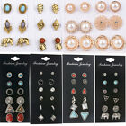 Mixed Crystal Turquoise Boho Vintage Earring Ear Stud Set Jewelry 6/12 Pairs