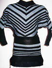 GIRLS 80s STYLE GREY BLACK STRIPE BATWING WINTER KNIT JUMPER TUNIC DRESS TOP
