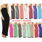 Ladies Womens Strapless Maxi Dress Sheering Boobtube Bandeau Long Plus Size 8-26