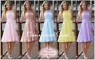 CINDY Pastel Colours Knee Length Chiffon Bridesmaid Occasion Dress Sizes UK 6-18