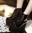 Womens Black Punk Lace Up Platform Bock High Heel Riding Ankle Boot Casual Shoes