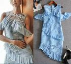 Womens Irregular Package Hip Fishtail Lace Casual Sleeveless Dress V Neck Gown