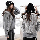 Short Vest Fur Womens Knit Rabbit Fur Vest Gilet Fur Pretty Gift Waistcoat Black