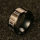 Roman Numerals Stainless Steel Engagement Band Ring Fashion Jewelry Gift Black
