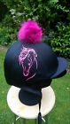 Faux Fur Pom Pom Riding Hat Cover Silk Equestrian  horse elegance