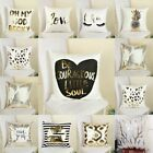 18'' Cotton Linen Throw Pillow Case Sofa Home Decor Cushion Pillow Cover Gold