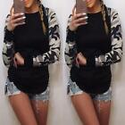 Fashion Women O-Neck Print Raglan Sleeve Patchwork Slim T-Shirt Tops DZ88