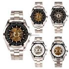 Men Business Classic Wrist Watch Round Top Alloy Hollow Out Analog Mechanical 8B
