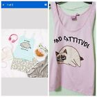 Primark Grumpy Cat so lazy can't move bad catitude  Vest Pj crop Top & Shorts