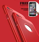Luxury Thin Slim PC Mesh Hard Back Case & Tempered Glass for iphone 7 Plus 6s