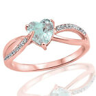18k Rose Gold Plated Fashion Aquamarine Heart Infinity CZ Sterling Silver Ring