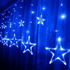 2.5M*1M 12pcs Five-Pointed Star Curtains String Fairy Lights Xmas Party Outdoors