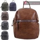NEW WOMENS FAUX LEATHER SIMPLE BACKPACK MULTIPLE POCKETS RUCKSACK