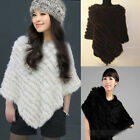 Girl Black Real Genuine Rabbit Knit Fur Popular Come Cape/Poncho/Stole Brown