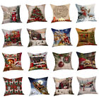 Cotton Linen Christmas Xmas Socks Pillow Case Throw Cushion Cover Home Decor image