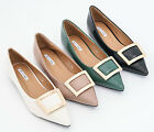 AnnaKastle Womens Pointy Toe Shiny Patent Flat Fashion Shoes with Square Metal