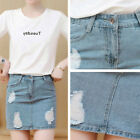Women High Waist Summer Mini Jeans Skirt Bodycon Denim Beach Ripped Skirts Hot