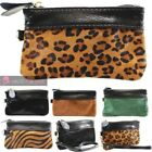 LADIES NEW SOFT REAL LEATHER ZEBRA LEOPARD COWHIDE WRISTLET COIN PURSE